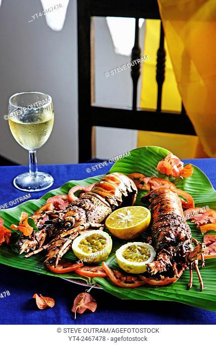 Grilled Lobster, Chapwani Island. Zanzibar, Tanzania