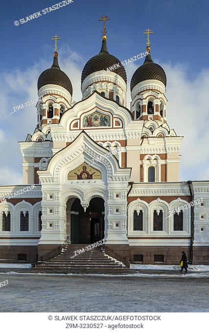 Winter day at Alexander Nevsky orthodox church in Tallinn old town, Estonia
