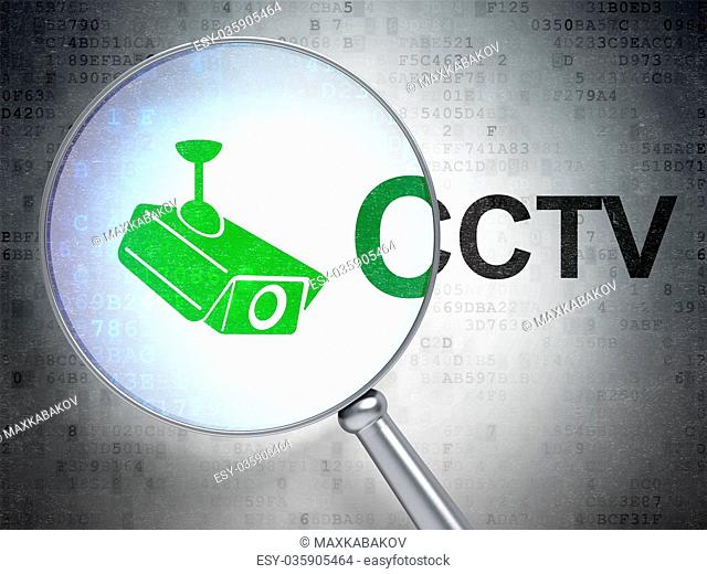 Security concept: Cctv Camera and CCTV with optical glass