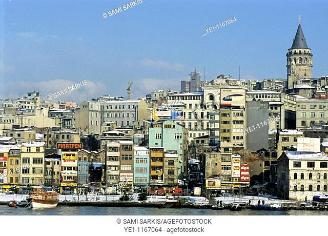 The Galata Tower rising above the city along the Bosphorus strait, Istanbul, Turkey