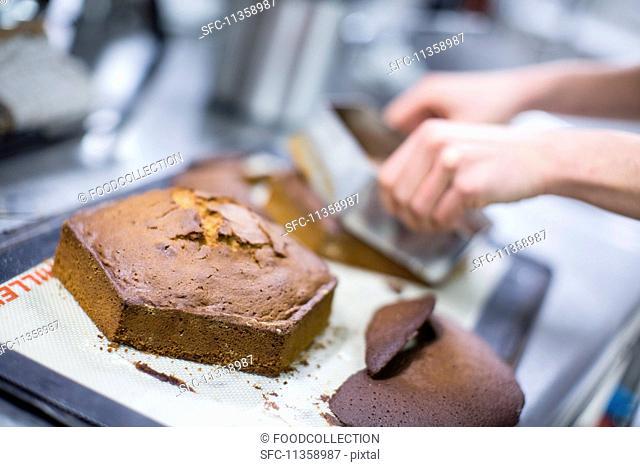 A freshly baked, hexagonal cake