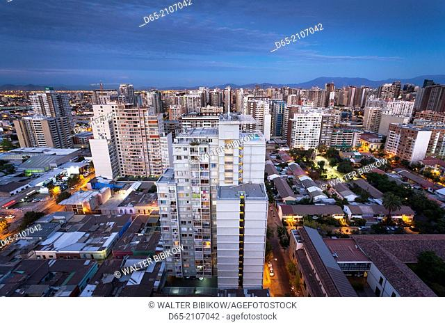 Chile, Santiago, elevated city view, dawn