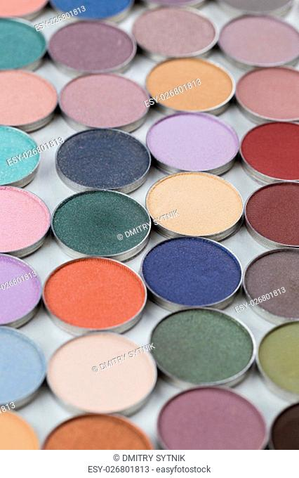 assortment make-up cosmetics powder in small pots