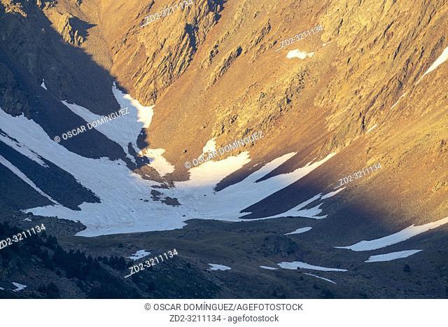 Last snow of winter over mountain slope. Pyrénées-Orientales. Occitanie. France