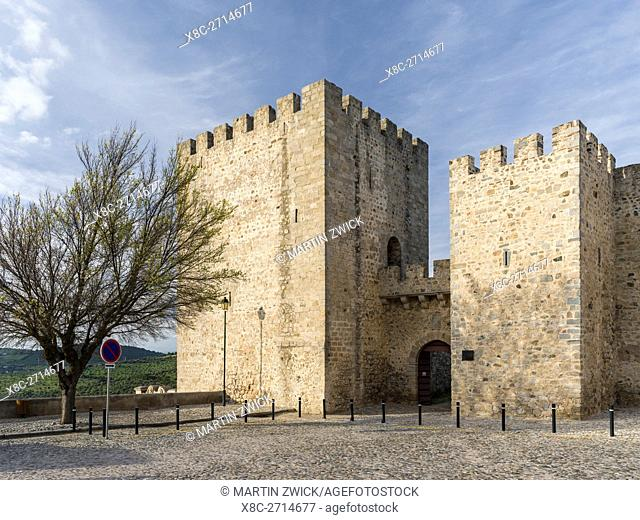 The castle. Elvas in the Alentejo close to the spanish border. Elvas is listed as UNESCO world heritage. Europe, Southern Europe, Portugal, March