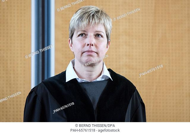 Judge Anke Grudda in the district court in Detmold, Germany, 11 February 2016. The Detmold jury court is holding trial against a man for his alleged role in...