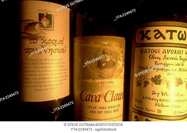 Bpttles of Greek Wine in a Wine Celler, Rethymnon, Crete, Greece