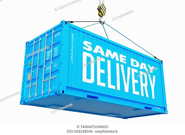 Same Day Delivery - Blue Cargo Container Hoisted by Hook, Isolated on White Background