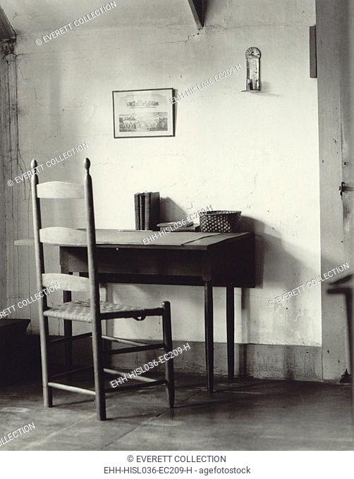 Shaker sewing table and chair at the Hancock Shaker Village near Pittsfield, Massachusetts. 1935 photo by Samuel Kravitt was commissioned by Shaker historian...