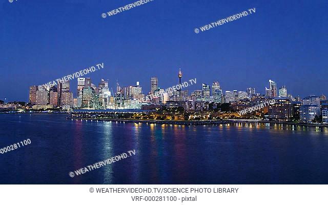 Sydney Harbour moonrise. Time-lapse footage of a Full Moon rising over Sydney Harbour, Sydney, New South Wales, Australia