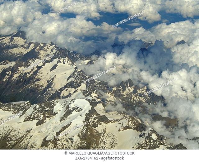 Aerial view of Pennine Alps. Switzerland, Europe