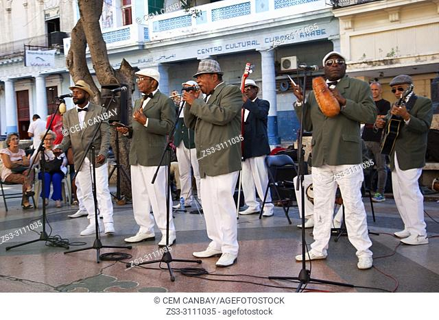 Cuban band playing latin music at Paseo del Prado at the center Havana, La Habana, Cuba, Central America