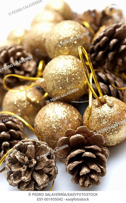 group ball Christmas ornaments and pine cones