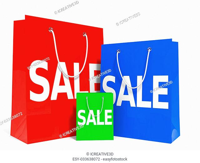 Shopping bags on white background. Sale. 3D illustration