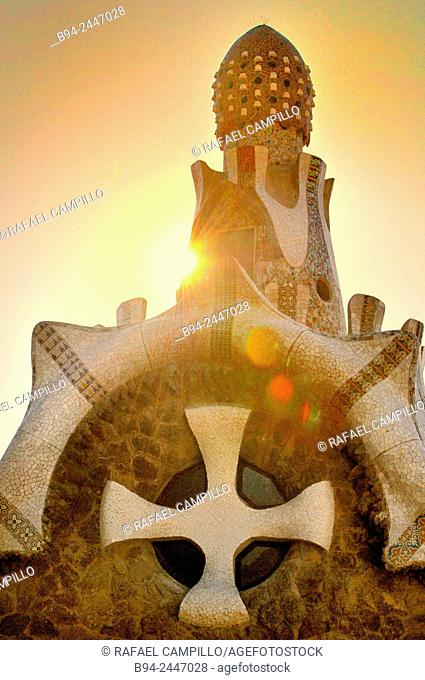 Park Güell, Park Guell. Garden complex with architectural elements situated on the hill of el Carmel. Designed by the Catalan architect Antoni Gaudí and built...