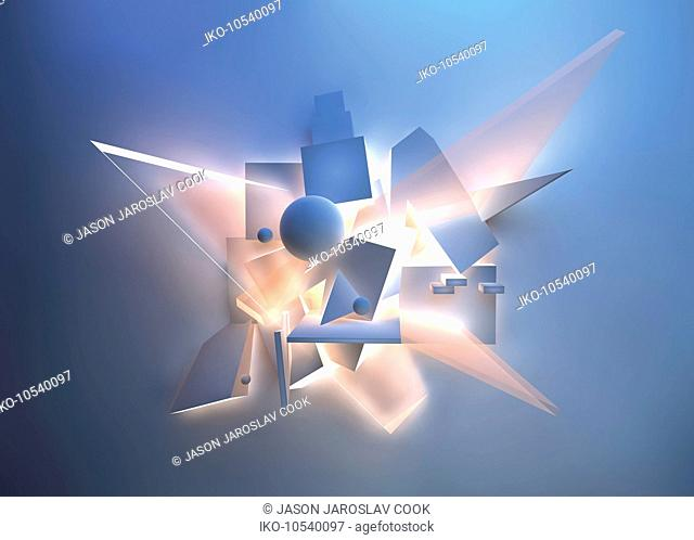 Abstract brightly lit geometric shapes