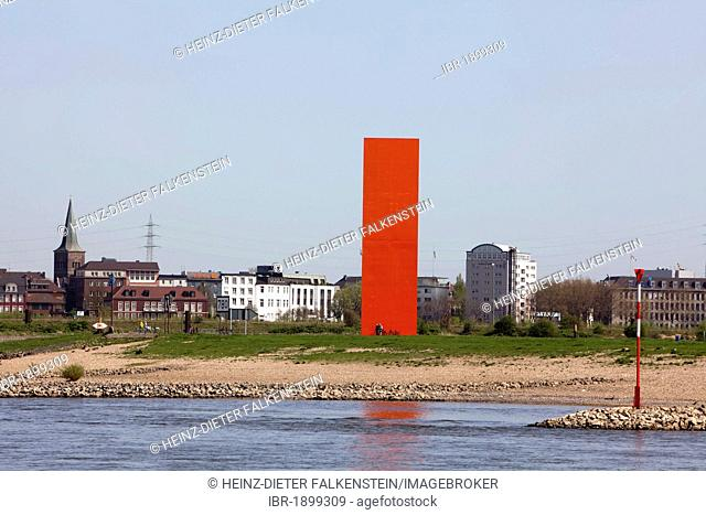 Landmark, sculpture Rheinorange by Lutz Frisch, Ruhrort district, Duisburg, North Rhine-Westphalia, Germany, Europe
