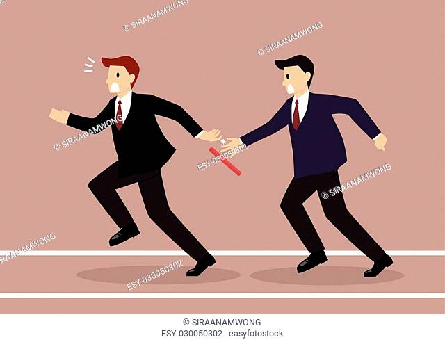 Businessman fail to passing the baton in a relay race competition. Partnership or teamwork concept