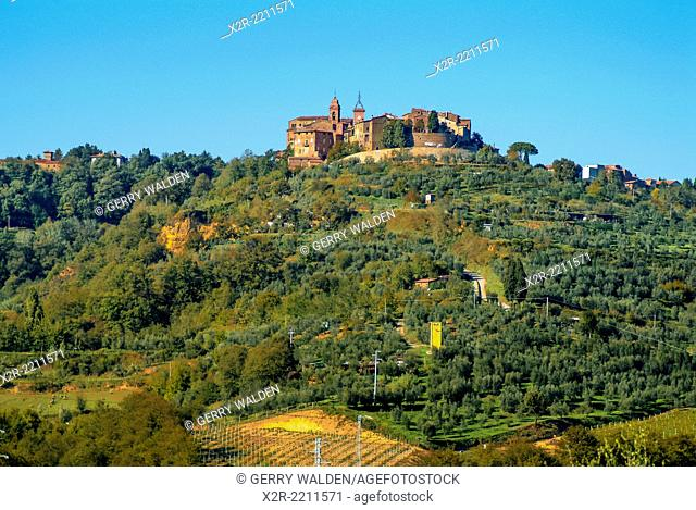 The small walled hilltop town of Panecale in Umbria, Italy