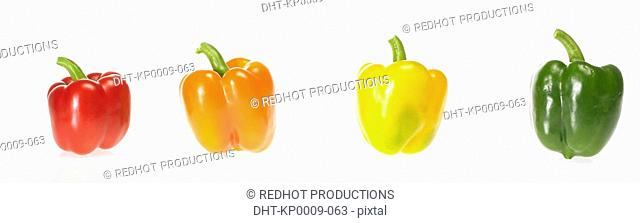 Four Coloured Peppers in a row