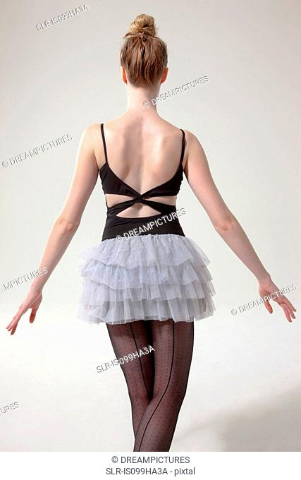 Rear view of ballerina