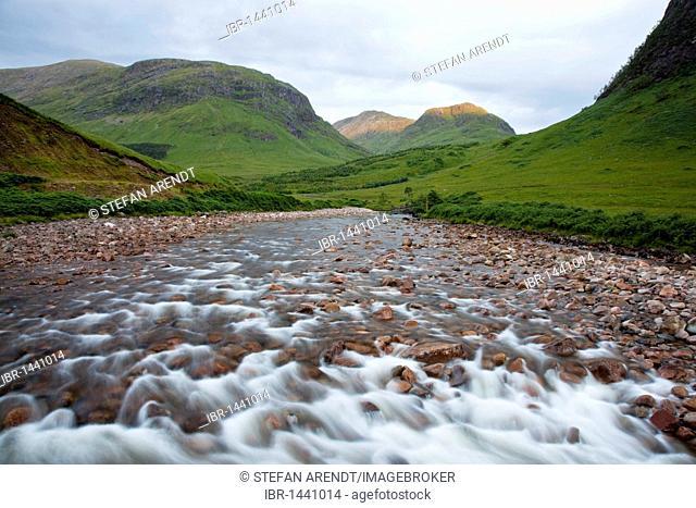 The River Etive in the Glen Etive in the Glen Coe in the Scottish Highlands, Scotland, United Kingdom, Europe