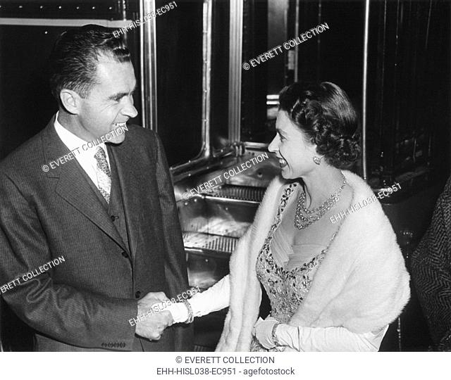 Queen Elizabeth II shaking Vice President Richard Nixon's hand. At the British Embassy in Washington during a dinner the royal couple gave for President and Mrs