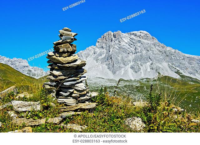 Cairn at the hiking trail to theSulzfluh peak, St. Antönien, Prättigau, Graubünden, Grisons, Switzerland