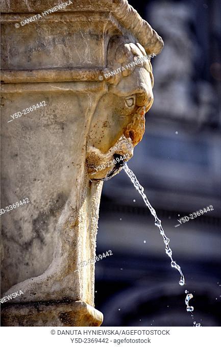 detail of Elephant Fountain, Piazza del Duomo, Catania, Sicily, Italy