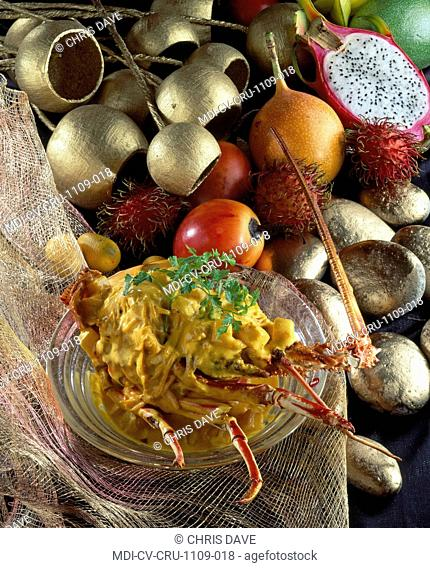Sea crayfish with Thaï herbs