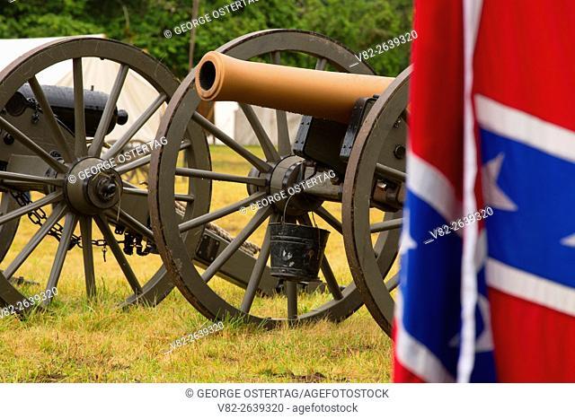 Confederate camp cannon with Confederate flag, Civil War Reenactment, Willamette Mission State Park, Oregon