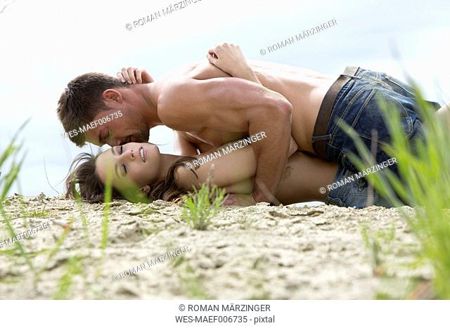 Germany, Bavaria, Young couple falling in love