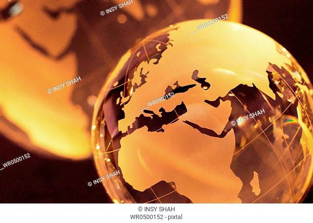 Two World Globes Focus on Globe in foreground