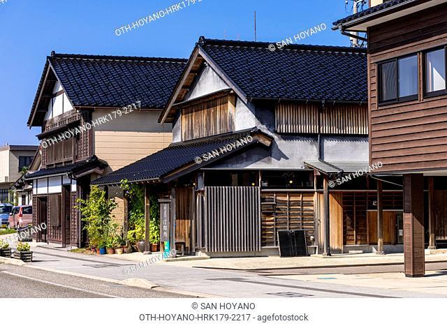 Traditional Japanese houses on the main street of Wajima City, Noto Peninsula, Japan