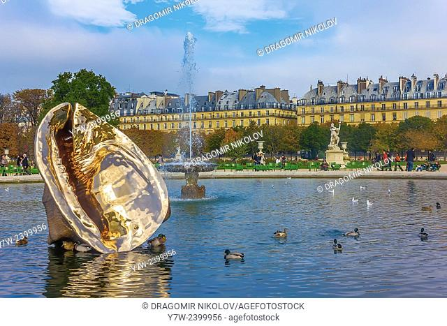 Paris, France - 23 October, 2012: The Tuileries Garden of the Louvre Museum in Paris. The former royal palace and the world's most visited museum