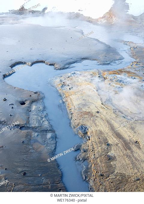 Geothermal area Seltun near volcano Krysuvik on Reykjanes peninsula during winter. Northern Europe, Scandinavia, Iceland, February