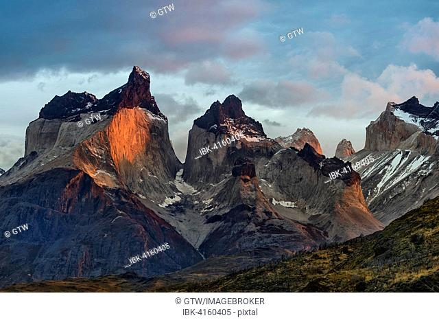 Cuernos del Paine in the morning, Lago Pehoe, Torres del Paine National Park, Chilean Patagonia, Chile