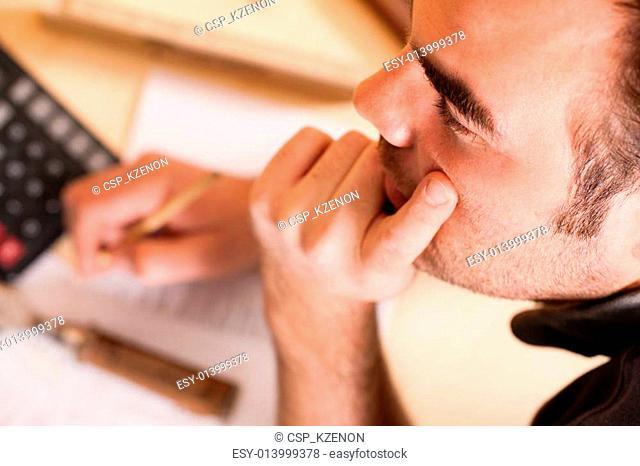Carpenter planning his work