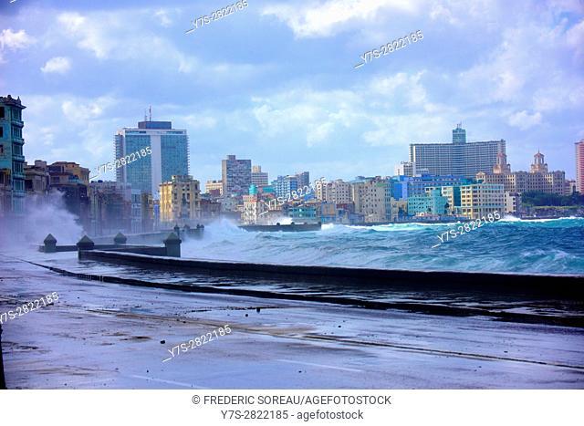 Waves crashing against wall, Malecon, Havana, Cuba