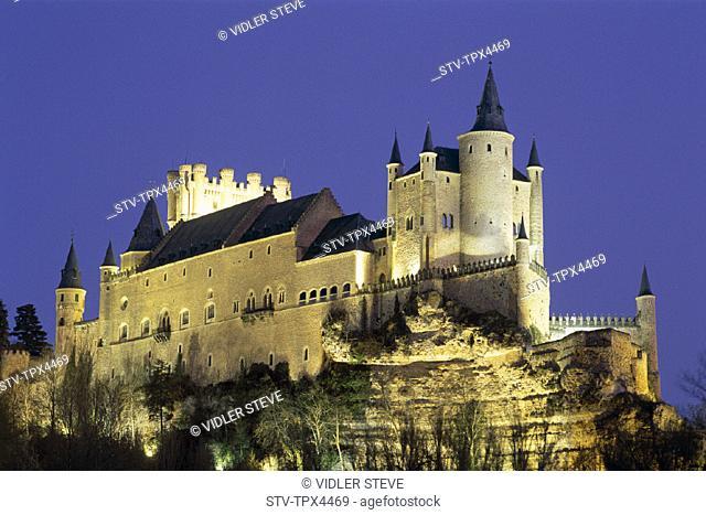 Alcazar, Castilla, Heritage, Holiday, Landmark, Leon, Night, Segovia, Spain, Europe, Tourism, Travel, Unesco, Vacation, View, Wo