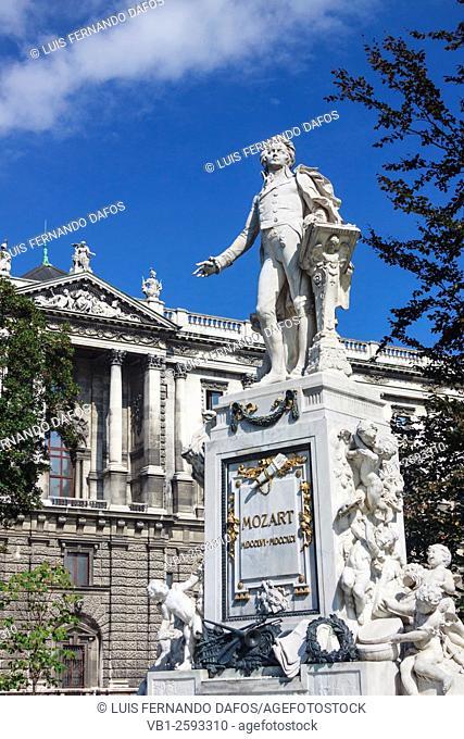 Mozart Denkmal statue at the Burggarten park in Vienna, Austria