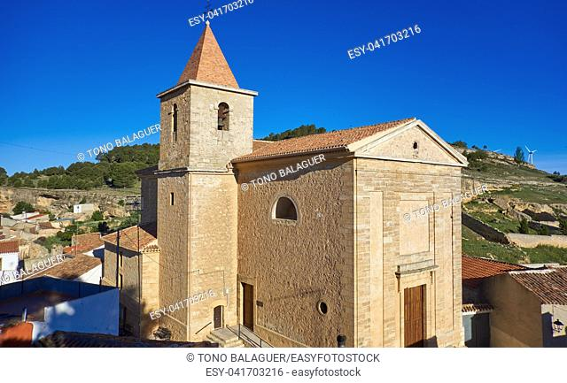 Higueruela church in Albacete at Castile La Mancha of Spain in Saint James Way of Levante