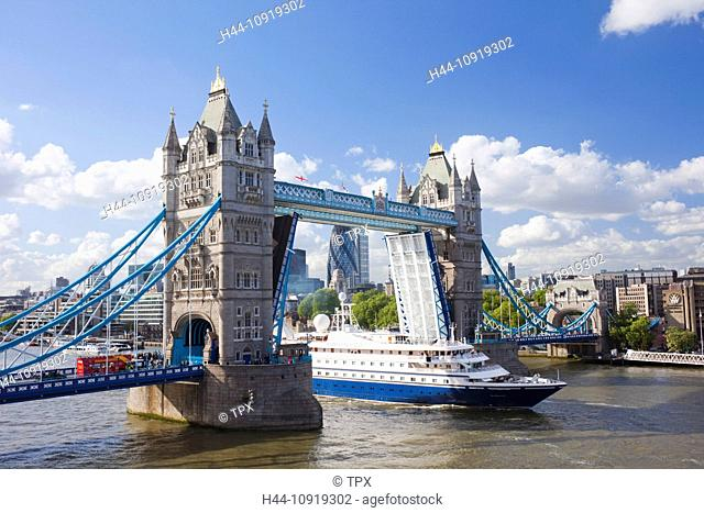 UK, United Kingdom, Europe, Great Britain, Britain, England, London, Tower Bridge, Thames River, River Thames, Landmark, Bridge, Bridges, Cruise Boat, Ship