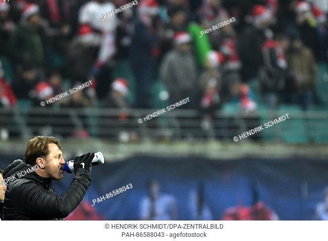 RB head coach Ralph Hasenhuettl drinking at the sidelines duringthe German Bundesliga football match between RB Leipzig and Hertha BSC at the Red Bull Arena in...