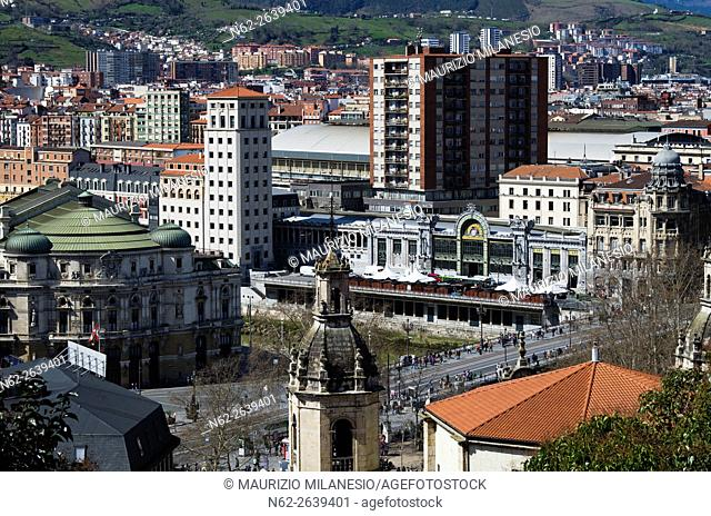 High Angle View on Abando train station and Arriaga theatre, Bilbao, Biscay, Basque country, Spain