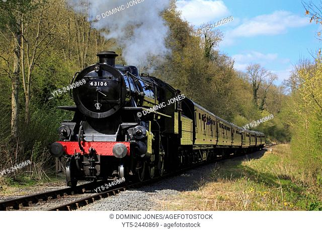 LMS Ivatt Class 4 MT steaming towards Highley on the Severn Valley Railway, Shropshire, England, Europe