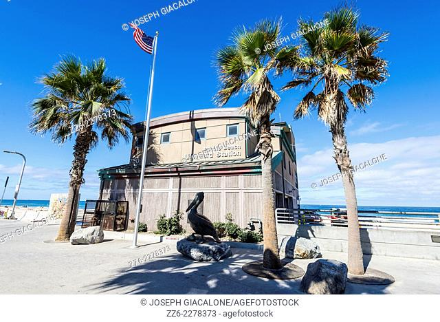 View of the Pacific Beach Lifeguard Station building. San Diego, California, United States