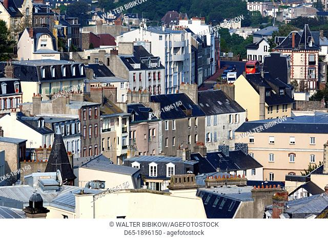 France, Normandy Region, Manche Department, Granville, elevated city view