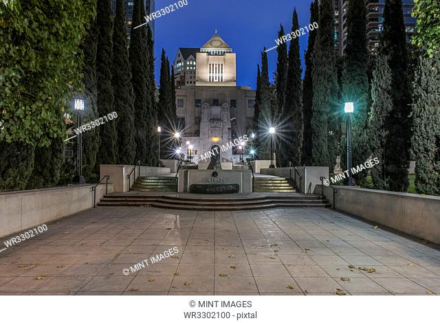 Los Angeles Public Library overlooking steps at dawn, Los Angeles, California, United States