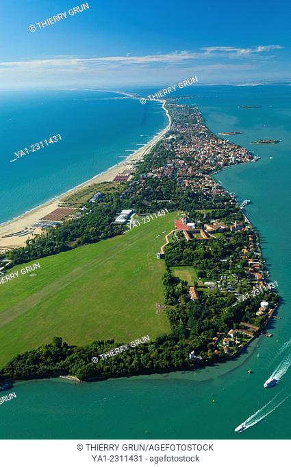 Aerial view of North Lido island at San Nicolo, Venice lagoon, Italy, Europe